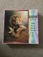 """SunsOut """"Harmony"""" Lion And Lamb Puzzle 500 Pieces Complete Isaiah 11: 6-9"""