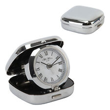 Widdop and Bingham - Metal Fold Up Alarm Clock - White / Black  Dial