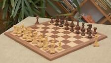 The Combo of Staunton Shesham Chess Pieces & Walnut Maple Chessboard - 4.0""