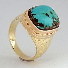 449.Bicolor Türkis Ring Gelbgold 585 Rotgold RG 60 (19,1 mm Ø) Handgefertigt TOP