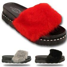 Mujer de las Señoras Piel las diapositivas abiertos del dedo del pie Peludo Pantuflas Deslizadores Sandalias Zapatos Talla
