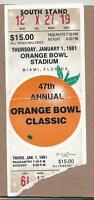 1981 Orange Bowl football ticket Florida State Seminoles v. Oklahoma Sooners VG