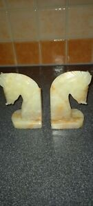 Onyx Horse Head Book Ends Carved Stone 5 inches tall