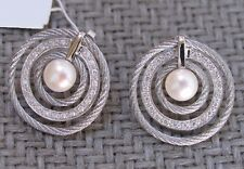 NEW CHARRIOL MODERN PEARL COLLECTION PEARL & DIAMOND CABLE EARRINGS retail $2150