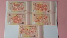 2015 SINGAPORE $10 polymer Commemorative Note SG50 50th Year Independence, 5 pcs