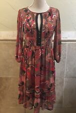 MNG Suit By Mango Size M Red Boho Peasant Dress Paisley Elastic Waist
