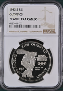 :1983 S $1-SILVER XXIII-OLYMPIC DISCUS COMMEMORATIVE NGC PF 69 UC HIGHEST GRADES