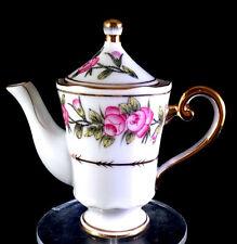 Victoria's Garden Child's Doll Size Mini Fine White/Gold Teapot New W/Tag Box