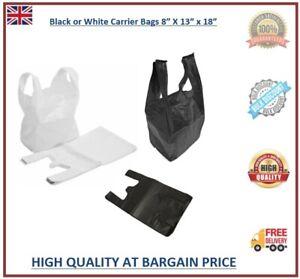 Plastic Vest Carrier Bags Black White Supermarkets Stalls Shops Shopping Bags