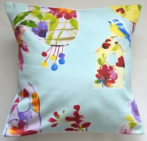 """16"""" Retro Shabby Chic Lily Lantern Blue floral floral fabric cushion cover"""