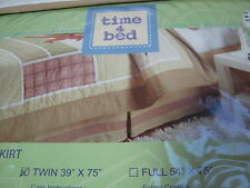 New Time 4 Bed Twin Bedskirt Dinosaur Collection ~ Tan/Beige Plaid Nip