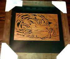 Red Oak Wood Tiger Jungle Animal Cat Scroll Jigsaw Art Frame Piece Sealed NIB