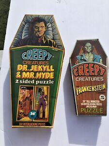 """VTG 1975 H-G Toys Creepy Creatures Puzzle Frankenstein Dr Jekyll 17 & 11"""" tall"""