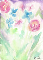 MIXED FLOWERS. Original Abstract Watercolor Garden Painting mini Fun ART ACEO NR