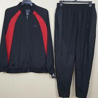 NIKE AIR JORDAN WINGS WOVEN BASKETBALL SUIT JACKET + PANTS BLACK RED (SIZE XL)