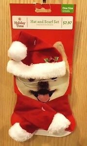 Holiday Time Christmas Red/White Santa Hat & Scarf 2pc Set for Dog, One Size