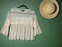 Forever 21 Women's Long Sleeve Lacey Light Pink Top Sz M Boho