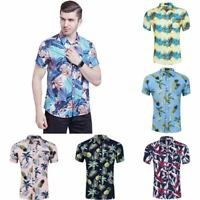 Shirt mens casual shirt top beach short sleeve hawaiian summer floral printed