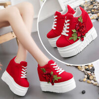 Women Ladies Chunky Creepers Platform Wedge Shoes Floral Slip On Casual Sneakers