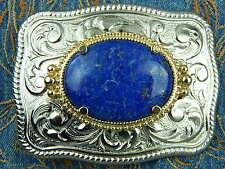 NUOVA Argento realizzato a mano in metallo fibbia della cintura Autentico BLU LAPIS Cowboy Western Goth