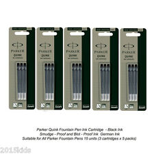 15 x Parker Quink Black Ink Cartridge refill Original for Fountain Pen US Seller