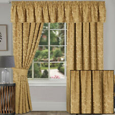 Gold Traditional Damask Jacquard Pair Of Tape Top Pencil Pleat Lined Curtains