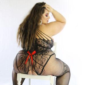 UK 12-26 Cross Straps Faux Lace Bodysuit Lingerie Fishnet Bodystocking Underwear