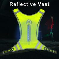 Safety Reflective Cycling Running Vest With LED Light High Visibility Adjustable