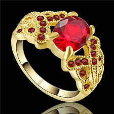 Red Ruby Big Stone Engagement Ring Womens yellow Rhodium Plated Size 8