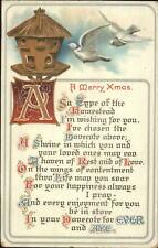 Christmas Bird House Doves Quote BB London Series X.54 c1910 Postcard