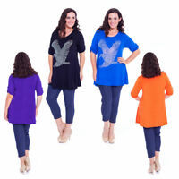 New Womens Plus Size Top Ladies Eagle Stud Rhinestones Shirt Bird Tunic T-Shirt