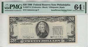 1990 $20 FEDERAL RESERVE NOTE FR.2077-C INSUFFICIENT INKING ERROR PMG CU 64 EPQ
