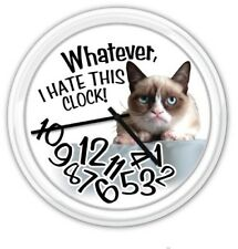 Grumpy Cat Whatever I Hate This Clock - Wall Clock - Funny GREAT GIFT