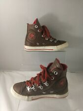 Converse All Star Hi-Top Brown Leather Kids Boys' Breathable Boots/Trainers UK10
