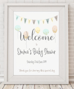 Personalised Baby Shower Welcome Sign Poster Print Picture  A4 PR86