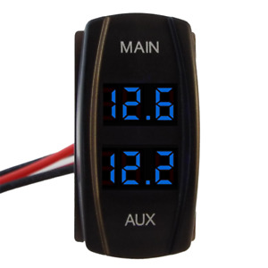 BLUE Dual Battery Volt Meter Gauge Contour Carling Rocker Size AGM Marine