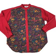 Vintage Womens Paisley Printed Button Down Collarless Blouse Top Shirt Loud S