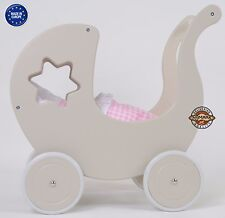 Wooden Doll Pram & WALKER 2in1 GREY STAR B1 incl. BEDDING Doll´s PRAM BRAND New