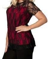 Ladies Plus Size Short Sleeve Floral Lace Lined Detail Partywear Tunic Top 14-28