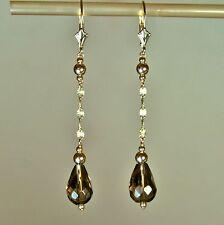 14k solid y/gold 12x8mm briolette natural Smokey Quartz elegant earrings 2.8gram