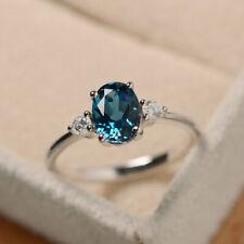 1.70 Carat Blue Topaz Diamond Wedding Ring 14K Solid White Gold Size L M N O P