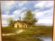 Vintage Country Barn Painting Signed K. Poul Rustic Farm Outdoors SEE VIDEO