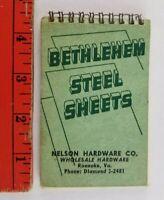 Vintage Bethlehem Steel Blank Memo Pad Nelson Hardware Roanoke Virginia