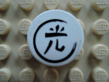 Lego 2 x Fliese 4150pb078  weiß  2x2 rund Sticker Asian 7706 7709