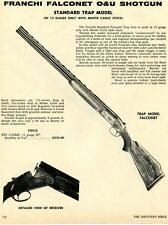 1972 Print Ad Franchi 12ga Falconet O&U Standard Trap Model Shotgun FST 1230MF