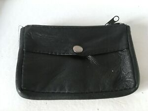 Large Black Real Leather Coin Purse Change Small Work Mens Unisex Soft Nappa