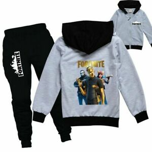 Fortnite Boys Girls Tracksuit Zip Hooded Top Kids Outfit Sports Set Tops+Pants