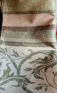 Green Marble Affect Fabric Shower Curtain Scroll Vine Design On Green Marble NEW