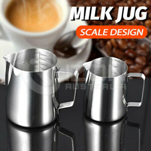 Milk Jug Frothing Scale Frother Latte Coffee Pitcher Pen Pot Cup Stainless Steel