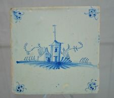 "Delft Tile Dutch ""Round House"" with perimeter Floral Pattern"